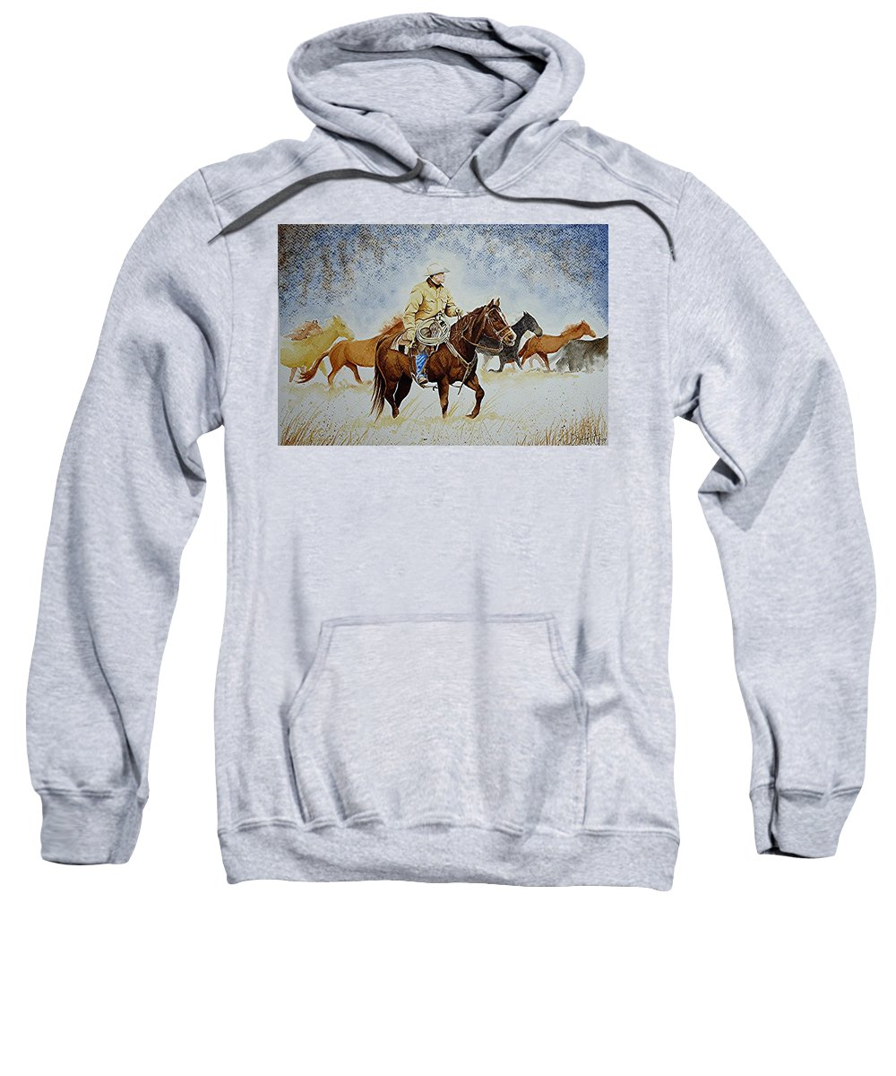 Art Sweatshirt featuring the painting Ranch Rider by Jimmy Smith