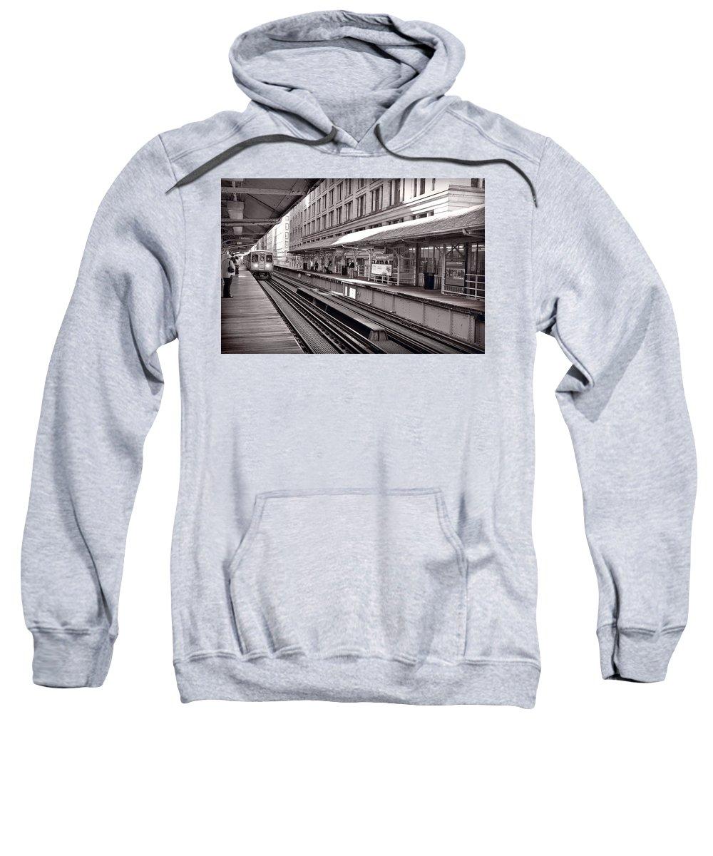 Cta Sweatshirt featuring the photograph Randolph Street Station Chicago by Steve Gadomski