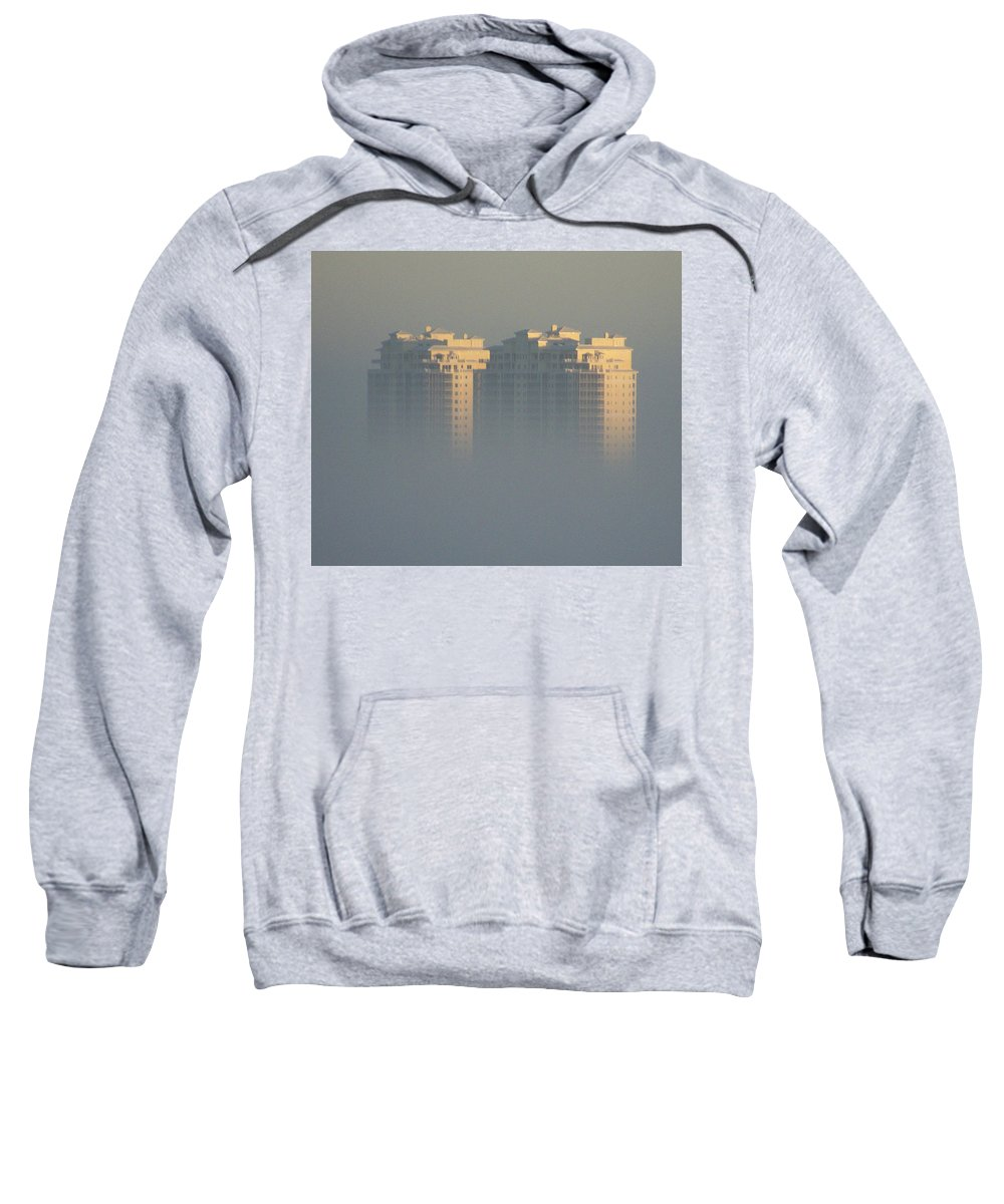 Raptor Bay Sweatshirt featuring the photograph Raptor Bay Morning Mist by Laurie Paci