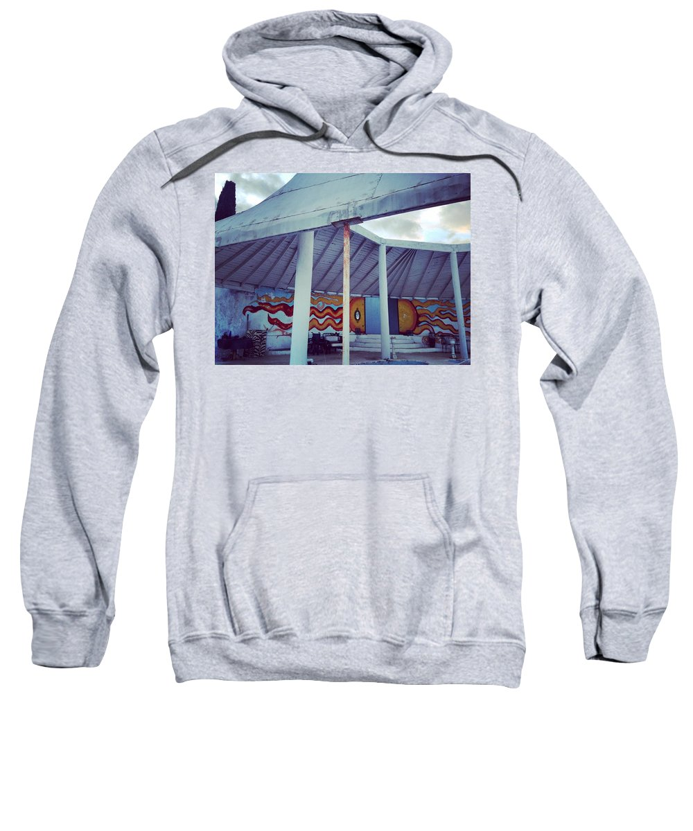 Sun Sweatshirt featuring the painting Rare Los Angeles Historical Architecture Site With Graffiti by Lorie Stevens