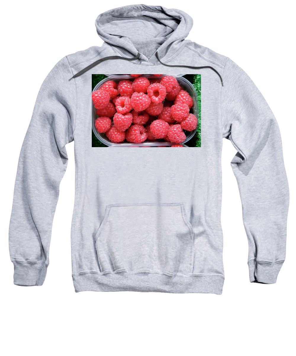 Raspberry Sweatshirt featuring the photograph Rasberries Market Bergen by KG Thienemann