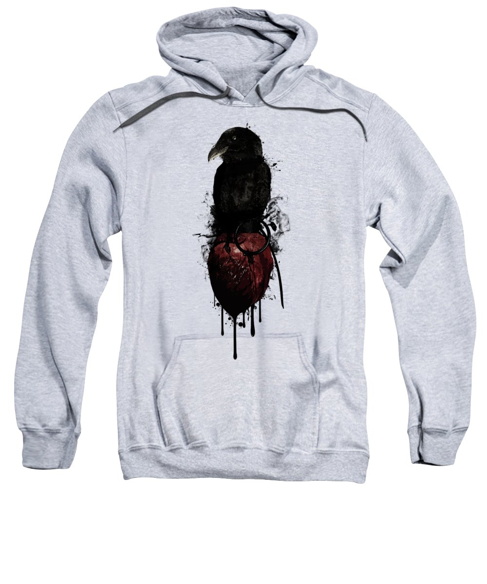 Raven Sweatshirt featuring the digital art Raven and Heart Grenade by Nicklas Gustafsson