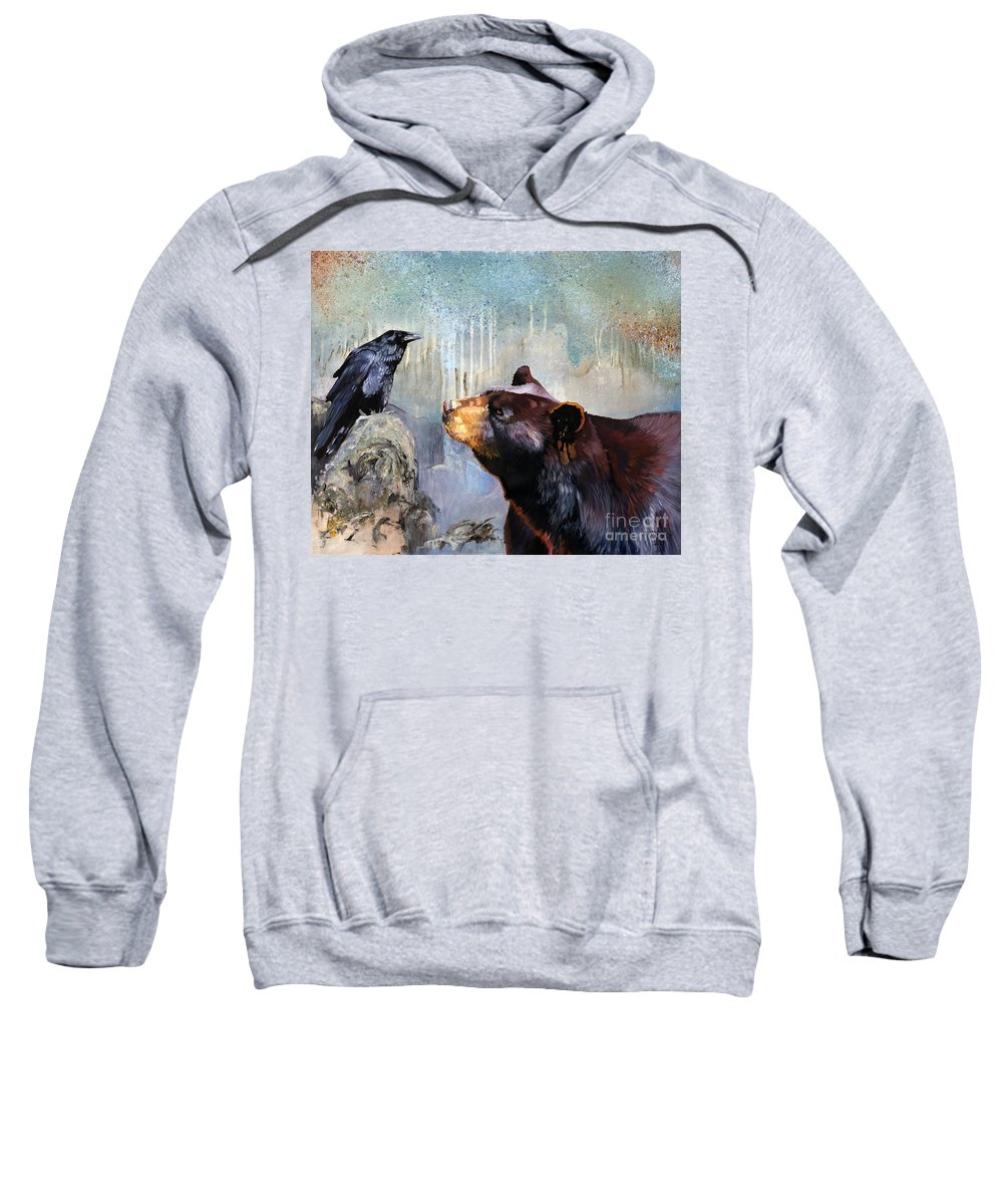 Raven Sweatshirt featuring the painting Raven and the Bear by J W Baker