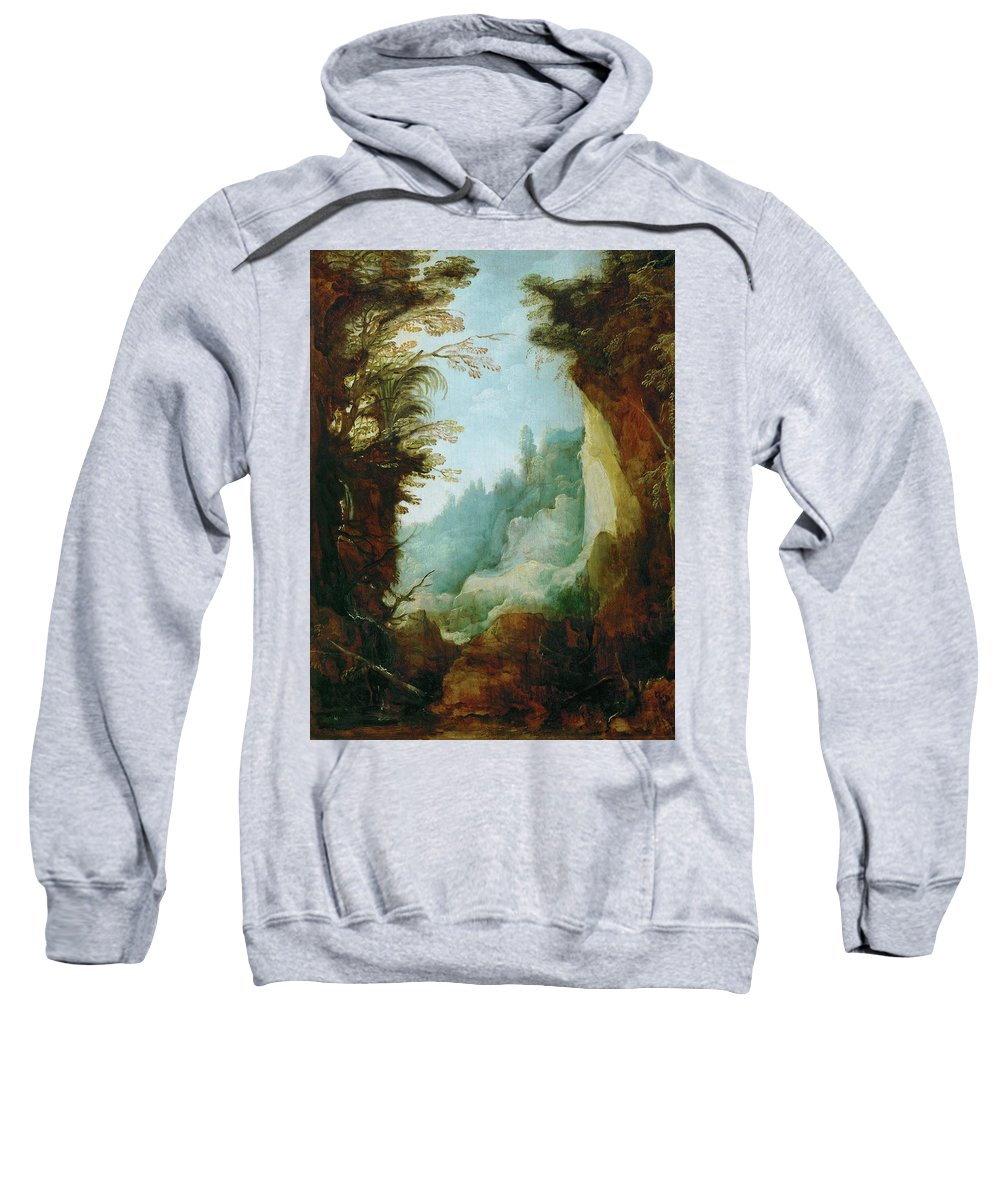 Joos De Momper The Younger Sweatshirt featuring the painting Ravine Between Rocks by Joos de Momper the Younger