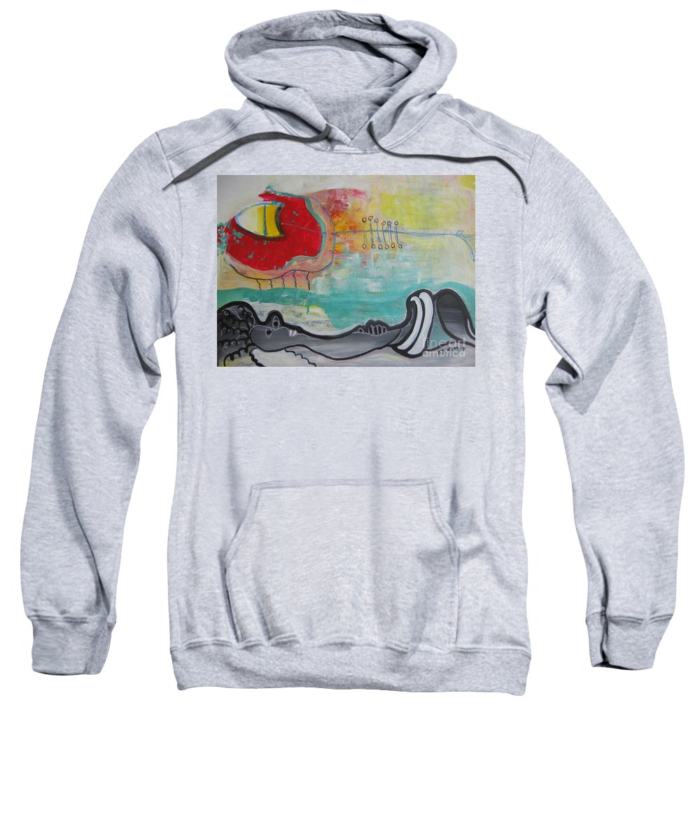 Red Paintings Sweatshirt featuring the painting Read My Mind1 by Seon-Jeong Kim