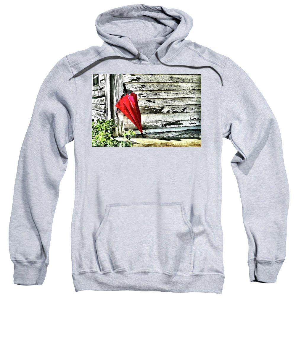 Red Sweatshirt featuring the photograph Ready For Summer Rain by Nadine Lewis