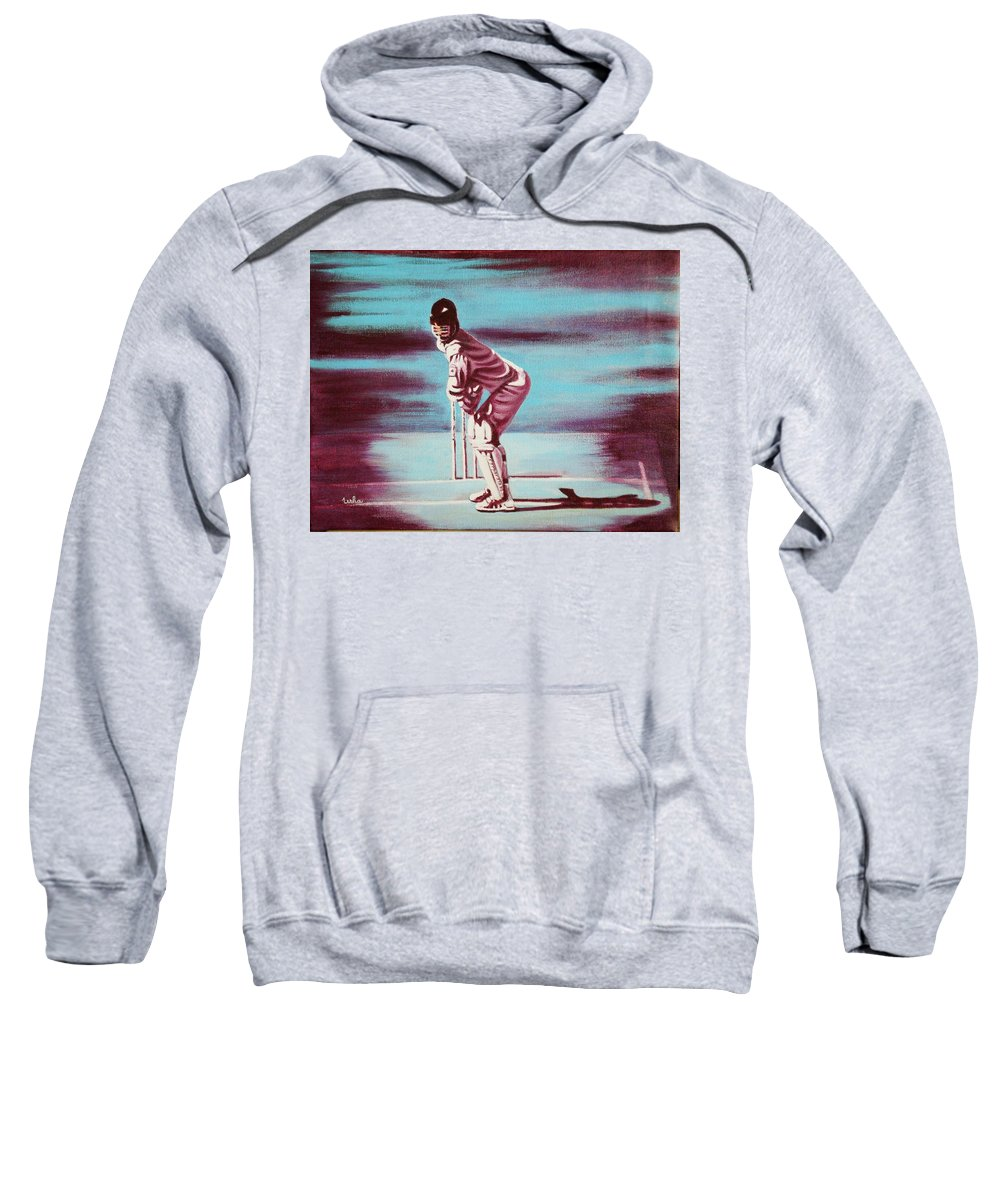 Sweatshirt featuring the painting Ready To Bat by Usha Shantharam