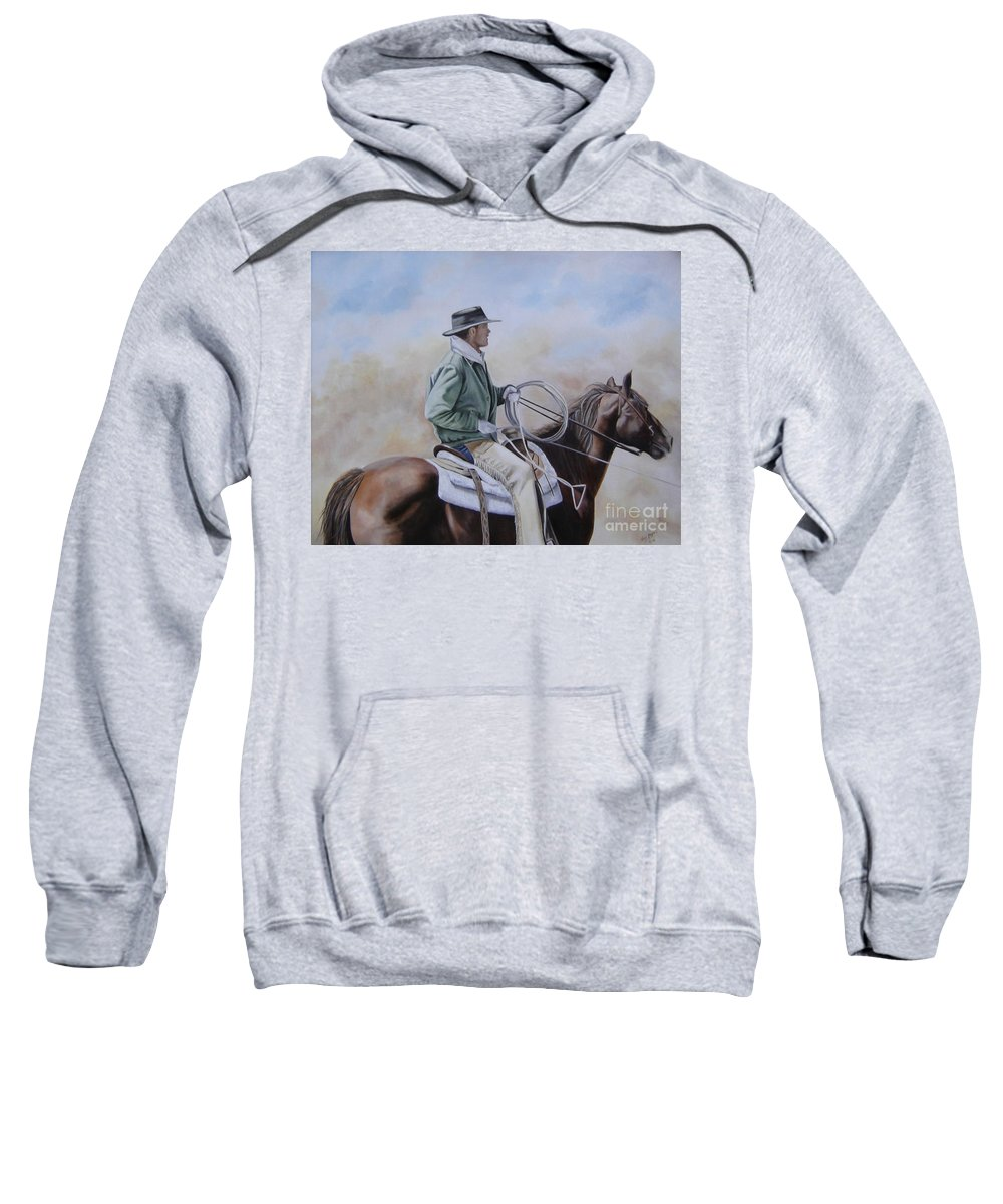 Ranch Sweatshirt featuring the painting Ready To Rope by Mary Rogers