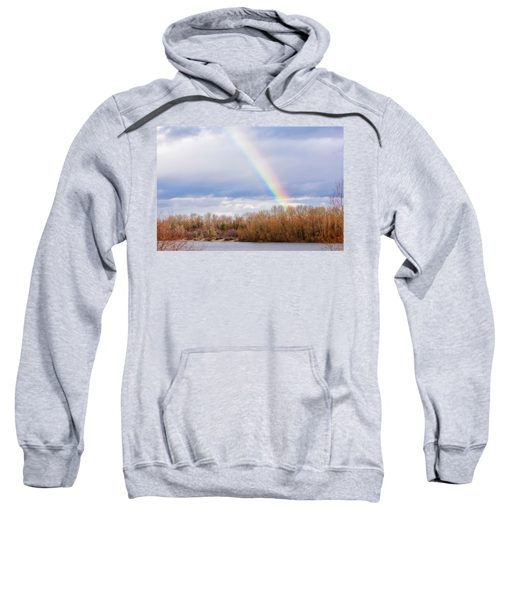 Autumn Sweatshirt featuring the photograph Real Rainbow Over The River by Alain De Maximy