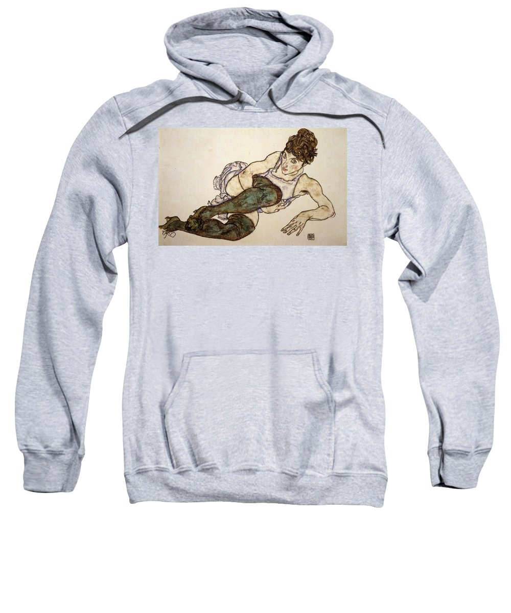 Egon Schiele Sweatshirt featuring the drawing Reclining Woman With Green Stockings by Egon Schiele