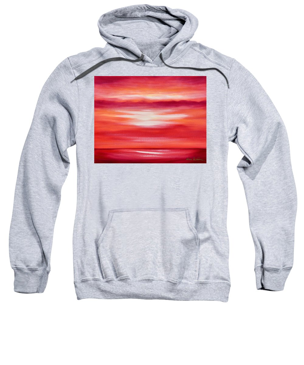 Art Sweatshirt featuring the painting Red Abstract Sunset by Gina De Gorna