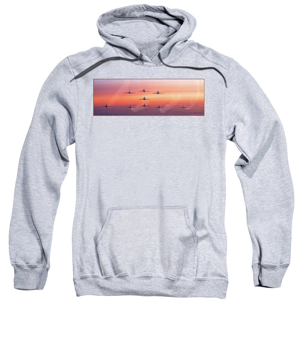 Dawn Sweatshirt featuring the photograph Red Arrows At Dawn by Chris Lord