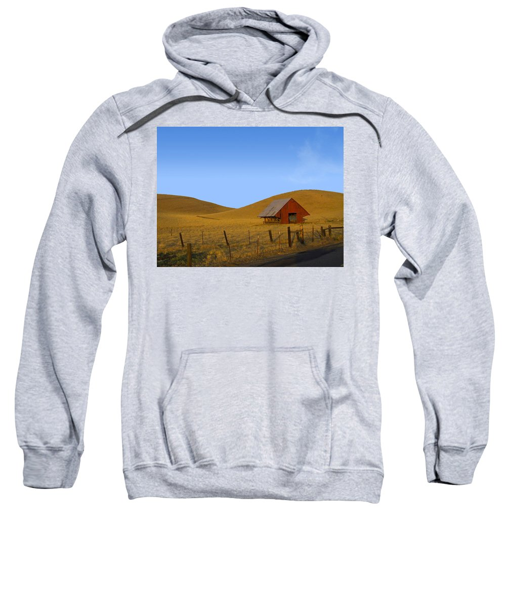 Landscape Sweatshirt featuring the photograph Red Barn Summer by Karen W Meyer