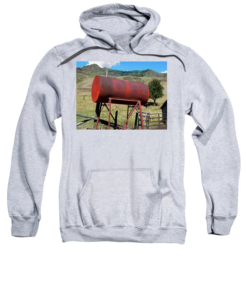 Farm Sweatshirt featuring the photograph Red Barrel by Sara Stevenson