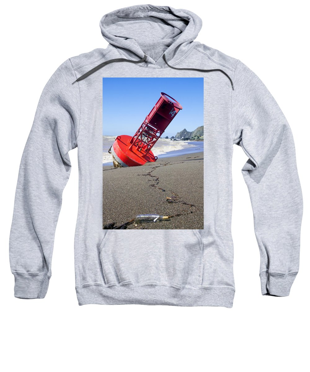 Bell Sweatshirt featuring the photograph Red Bell Buoy On Beach With Bottle by Garry Gay