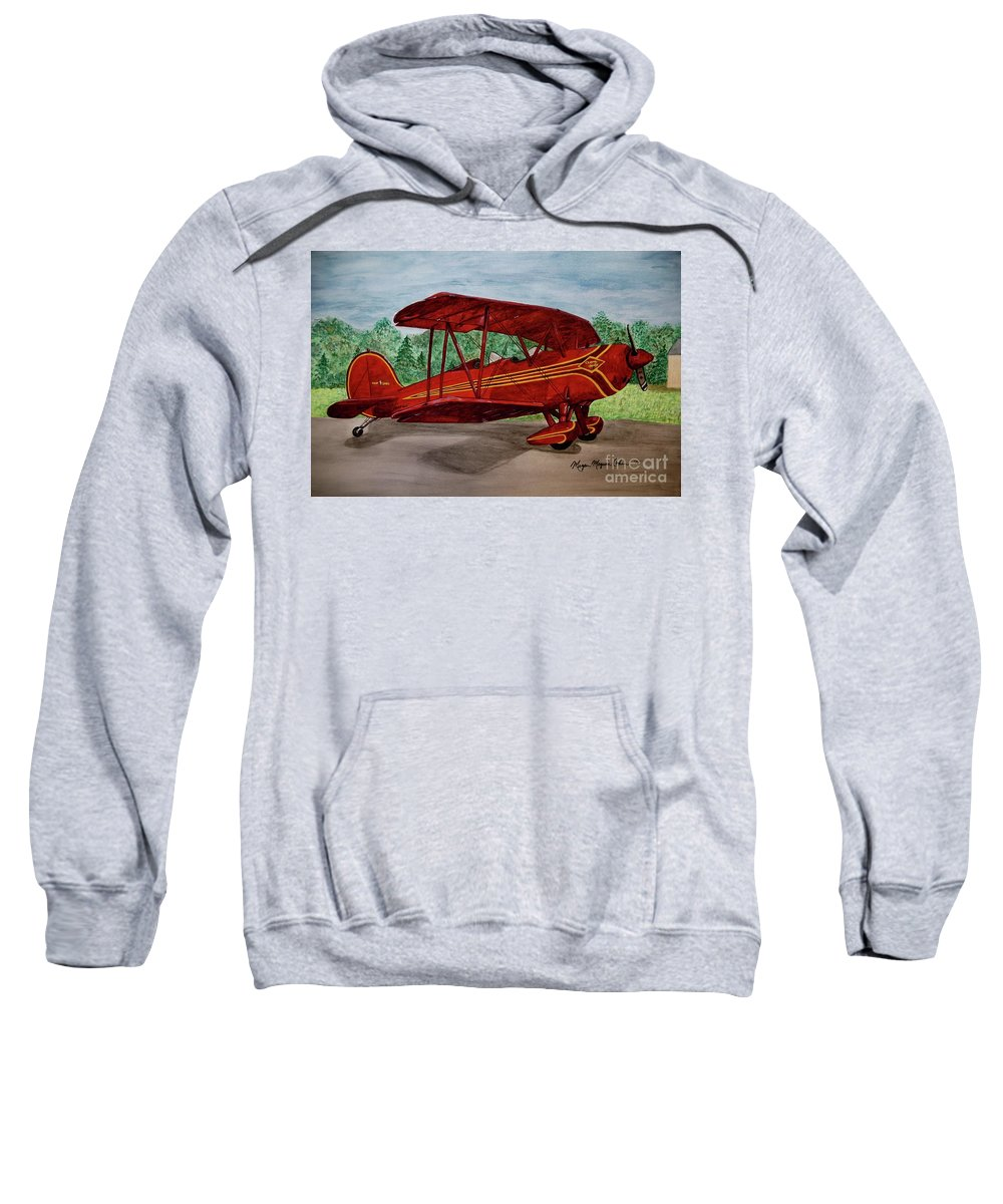 Biplane Sweatshirt featuring the painting Red Biplane by Megan Cohen