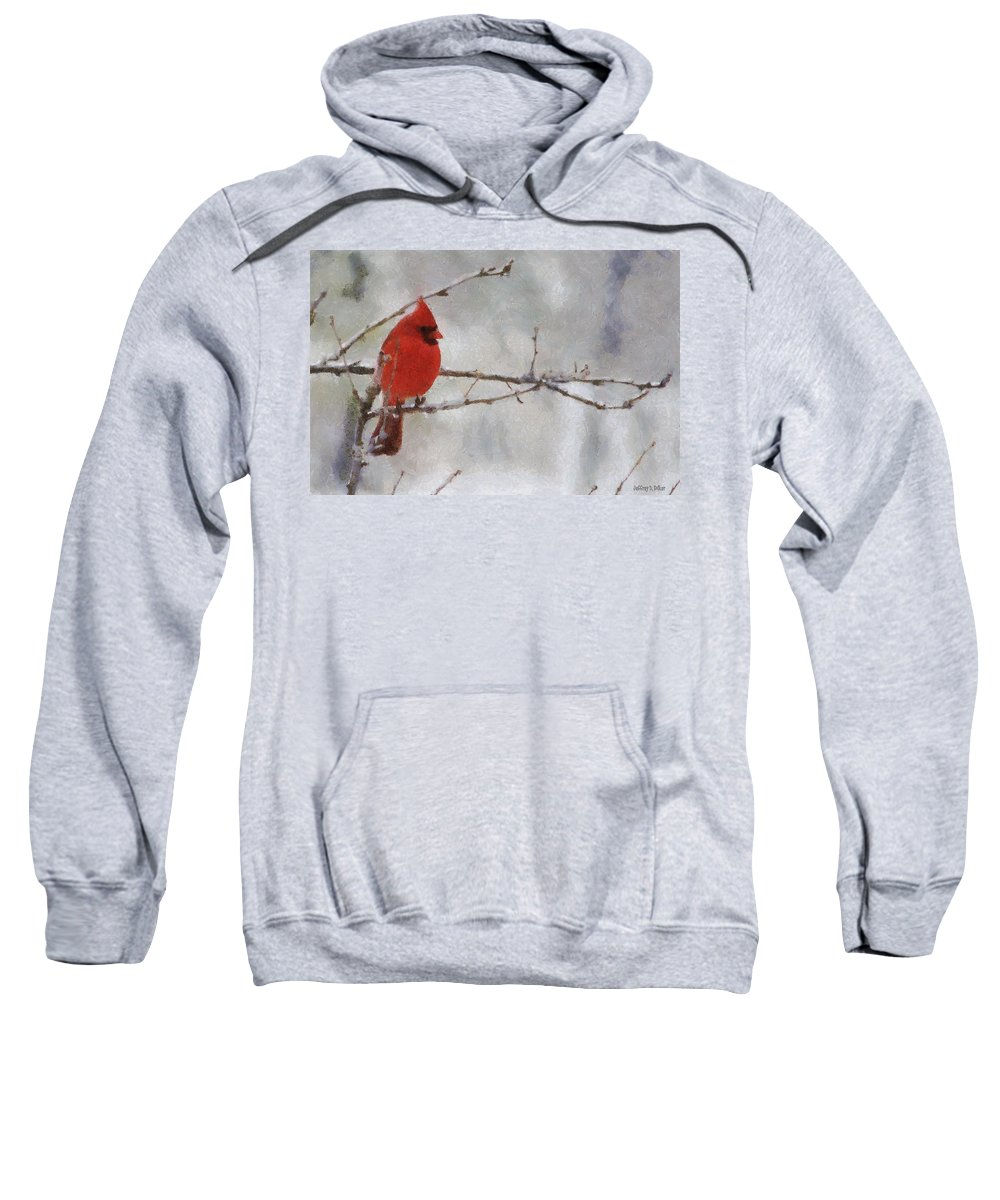 Bird Sweatshirt featuring the painting Red Bird Of Winter by Jeffrey Kolker