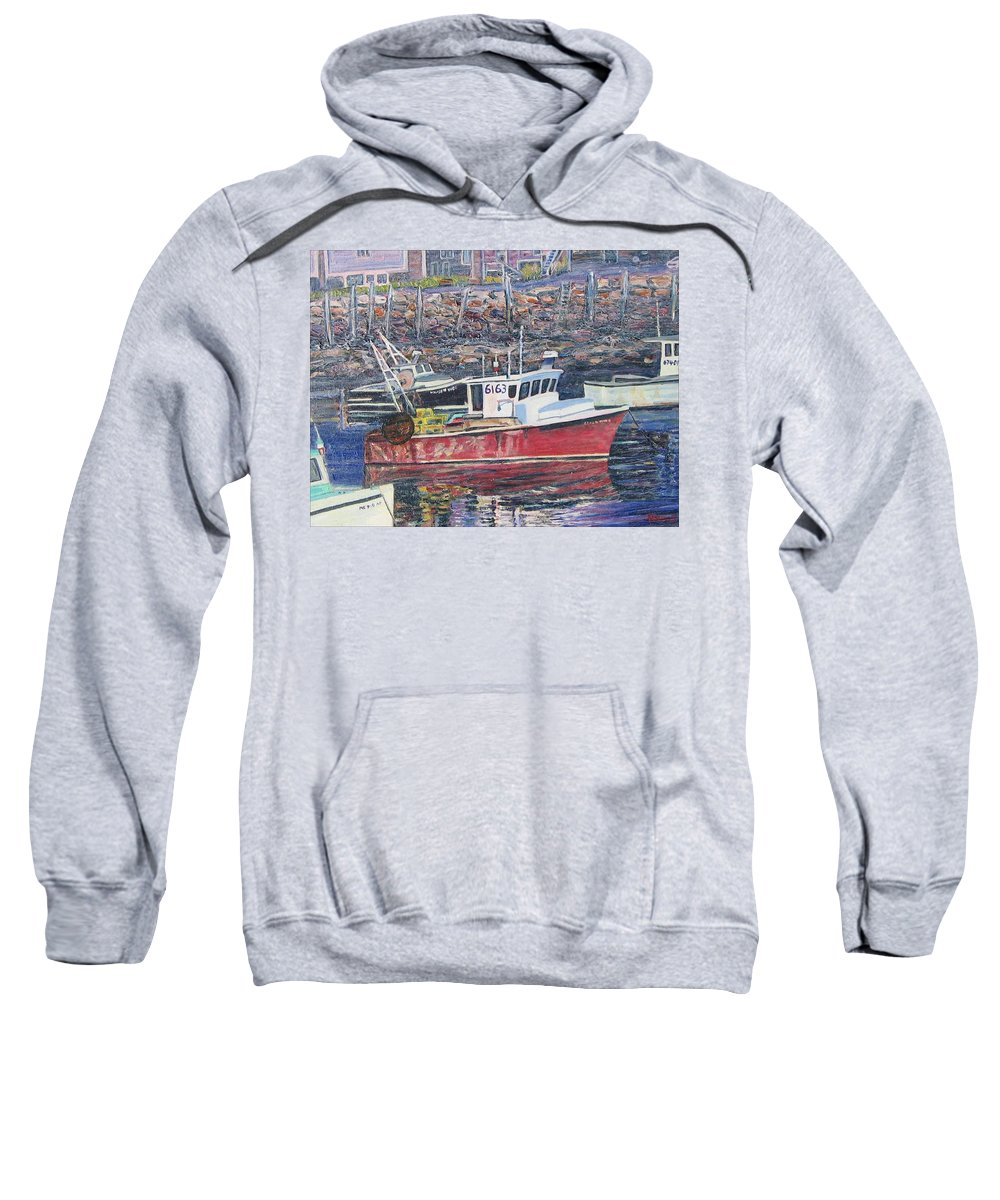 Boat Sweatshirt featuring the painting Red Boat Reflections by Richard Nowak