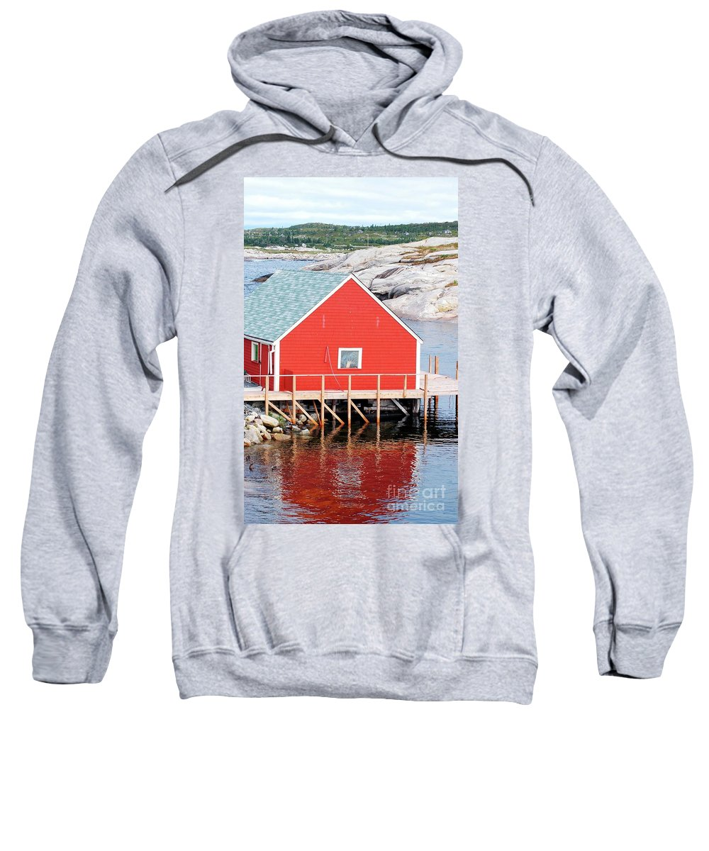 Red Sweatshirt featuring the photograph Red Boathouse by Kathleen Struckle