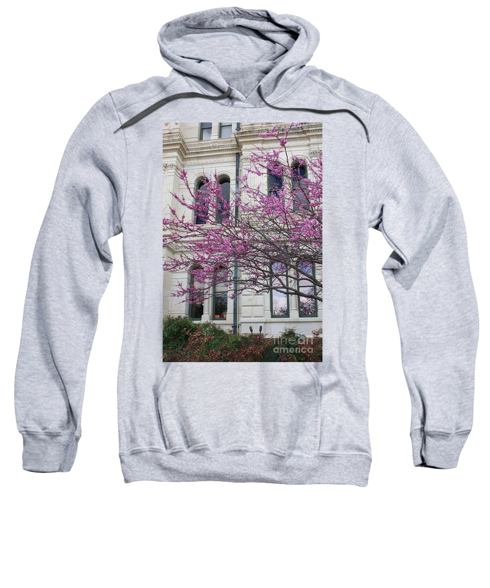 Red Buds Sweatshirt featuring the photograph Red Buds And San Antonio City Hall by Carol Groenen