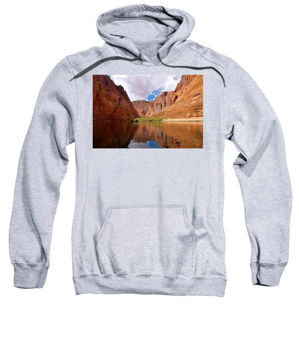 Colorado River Sweatshirt featuring the photograph Red Canyon Reflections by Barbara Stellwagen