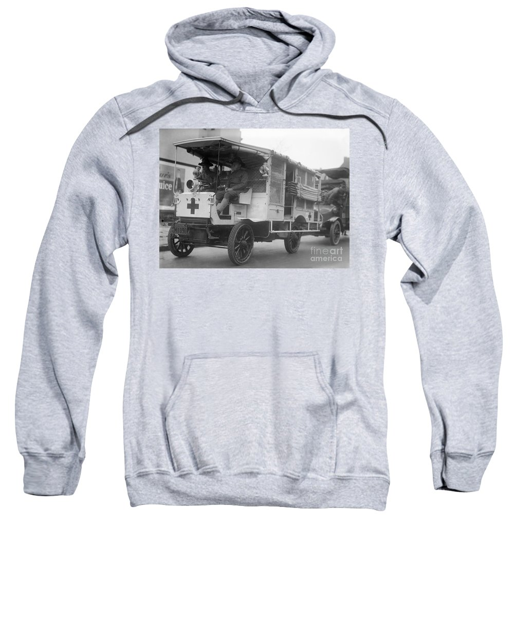 1910s Sweatshirt featuring the photograph Red Cross: Ambulance by Granger