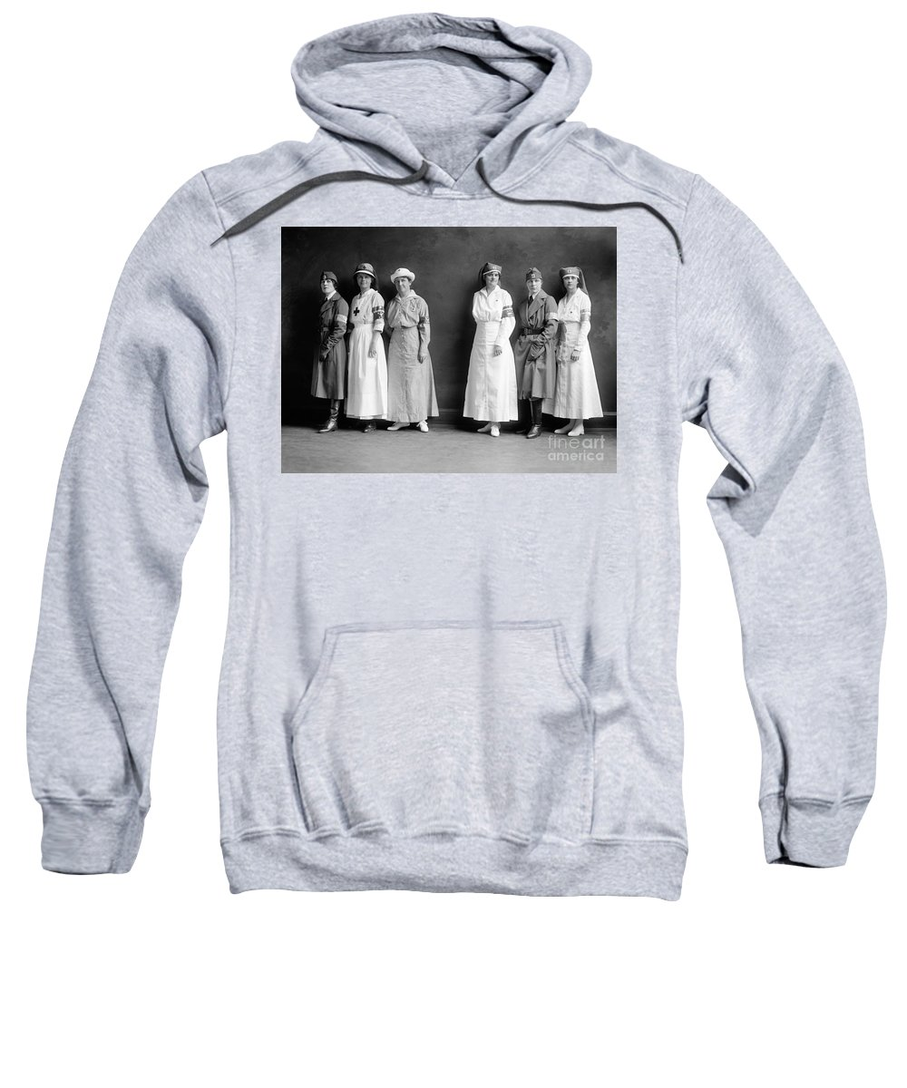 1920 Sweatshirt featuring the photograph Red Cross Corps, C1920 by Granger