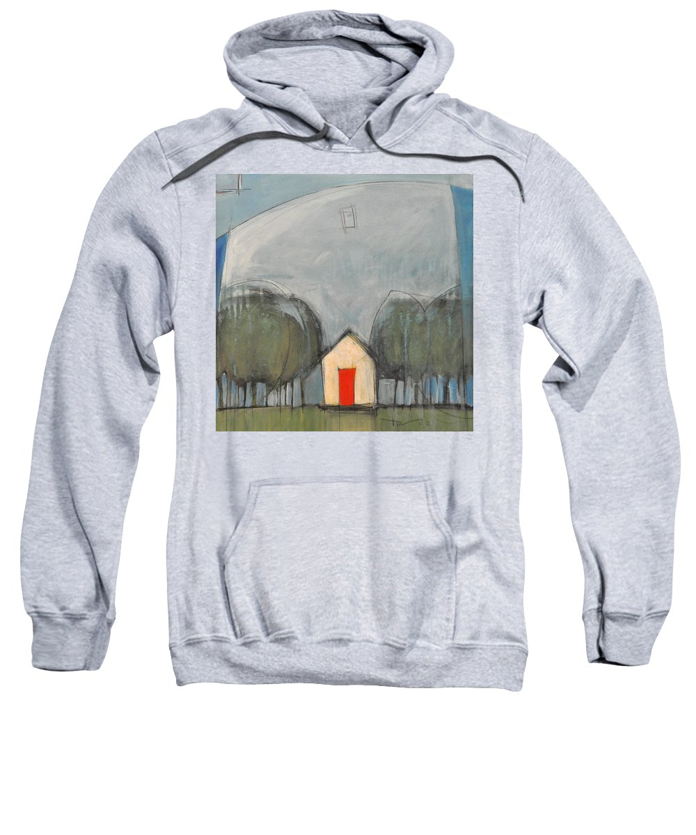 Trees Sweatshirt featuring the painting Red Door by Tim Nyberg