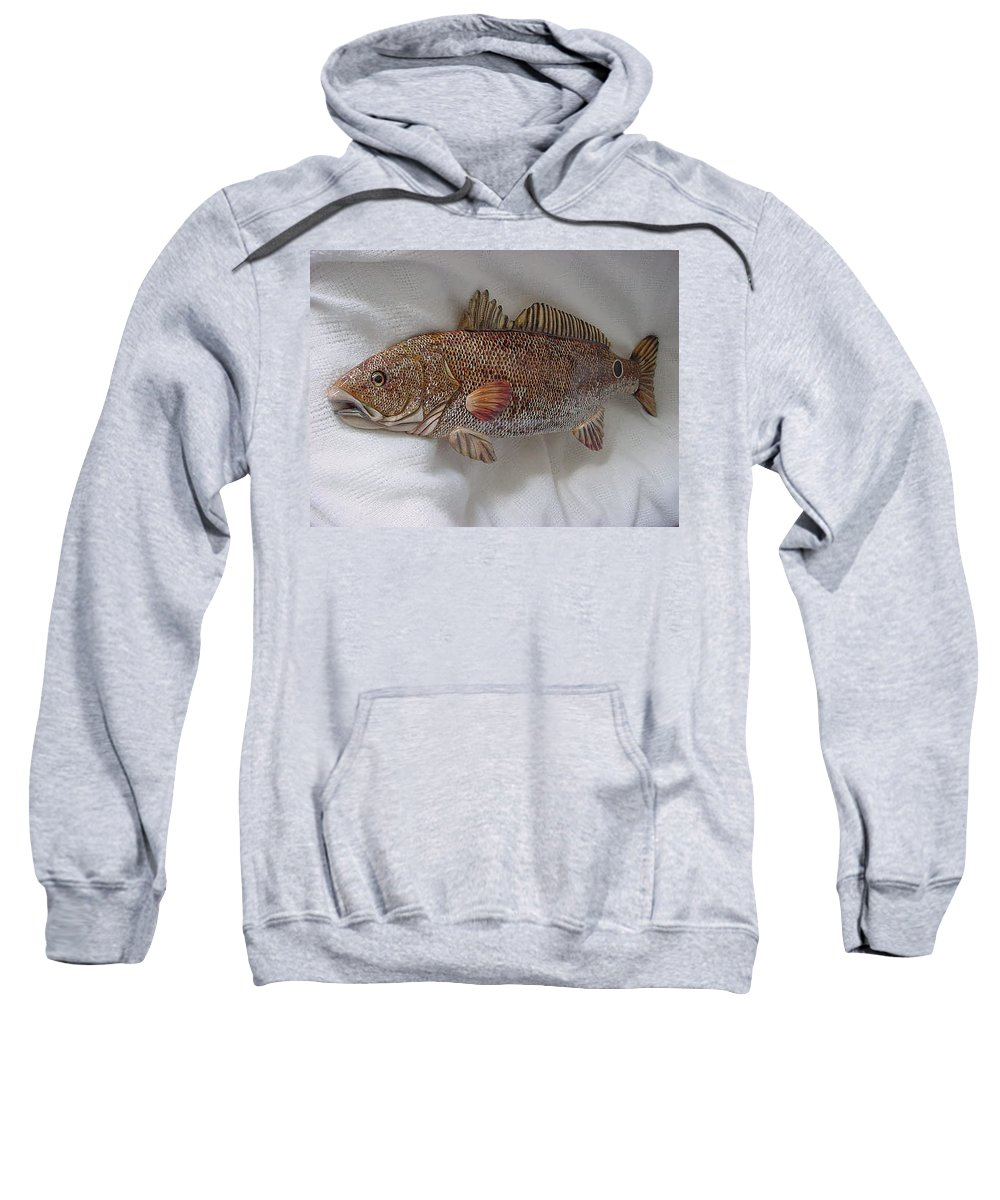 Fish Sweatshirt featuring the relief Red Drum Two-wooden Living Series by Lisa Ruggiero