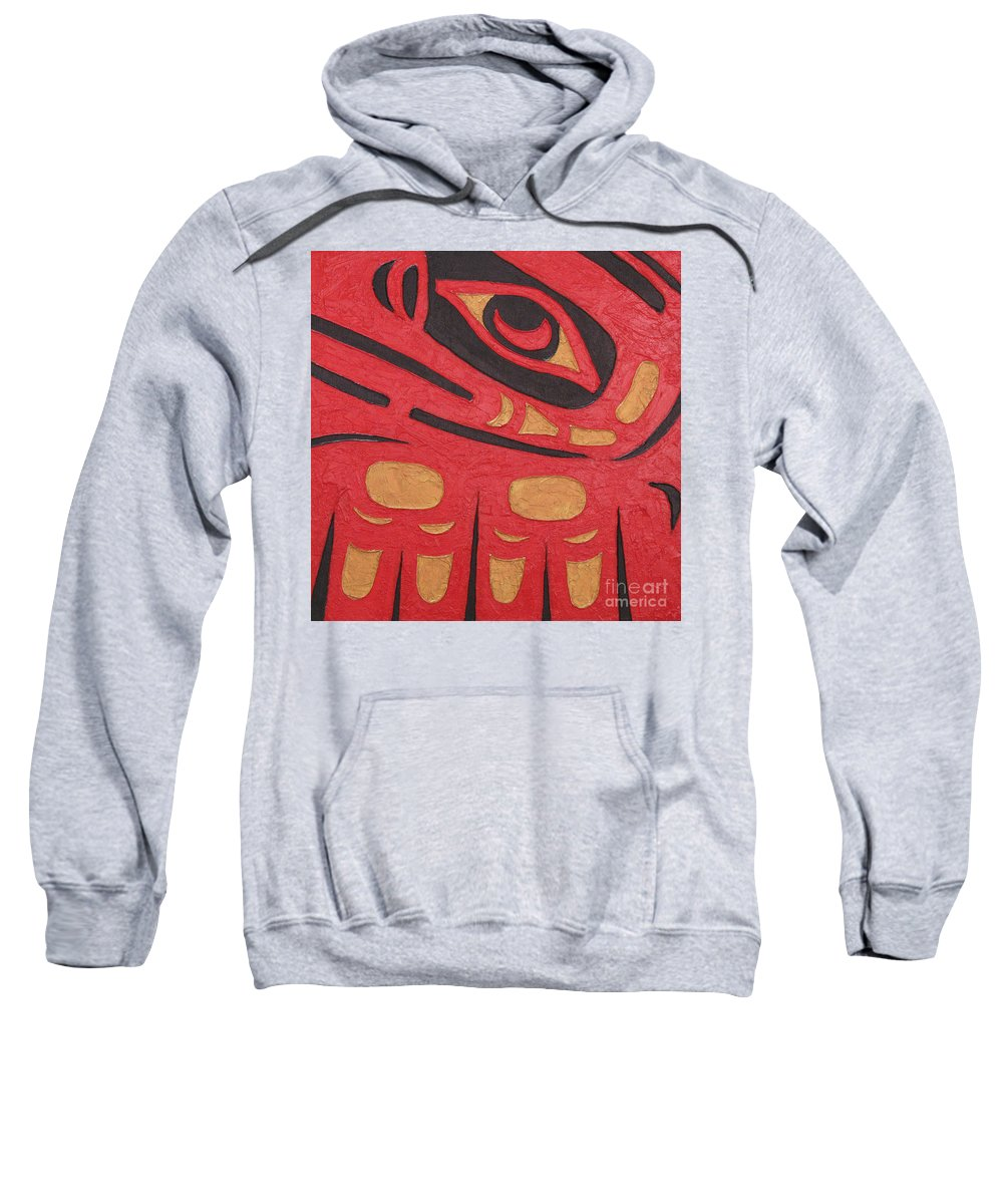 Red Sweatshirt featuring the painting Red Eagle by Elaine Booth-Kallweit