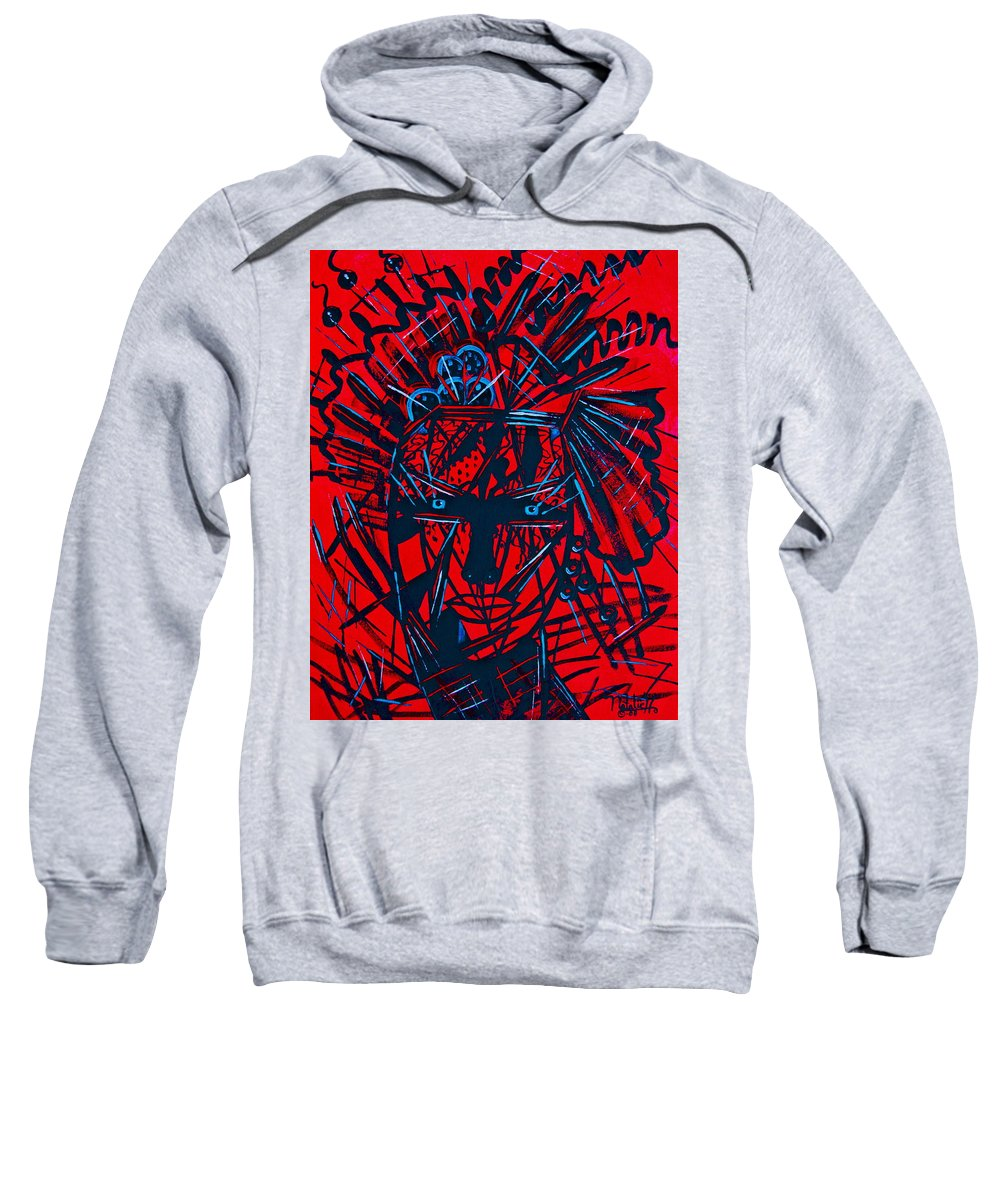 Abstract Sweatshirt featuring the painting Red Exotica by Natalie Holland