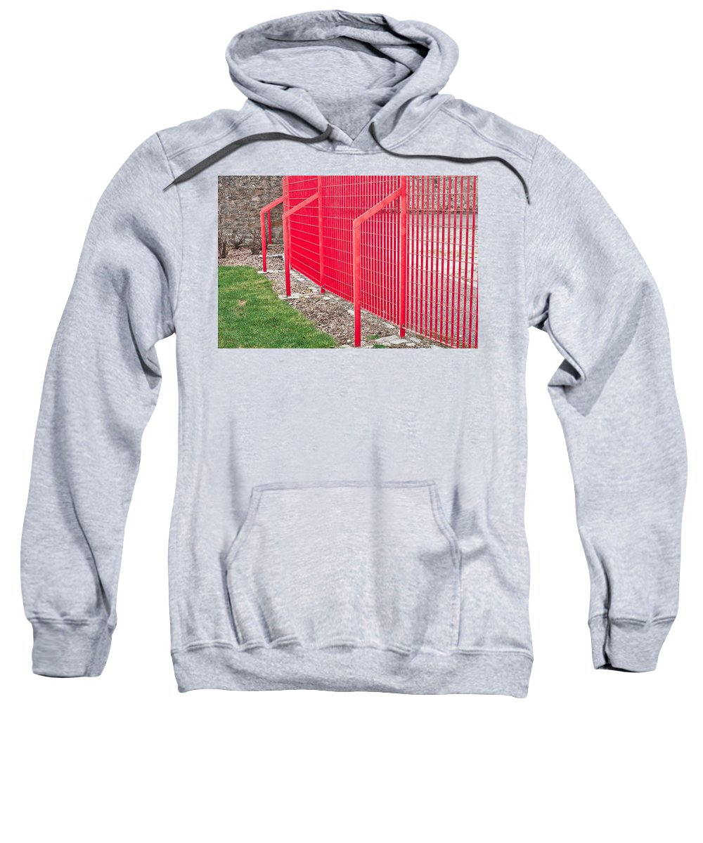 Aluminum Sweatshirt featuring the photograph Red Fence by Tom Gowanlock