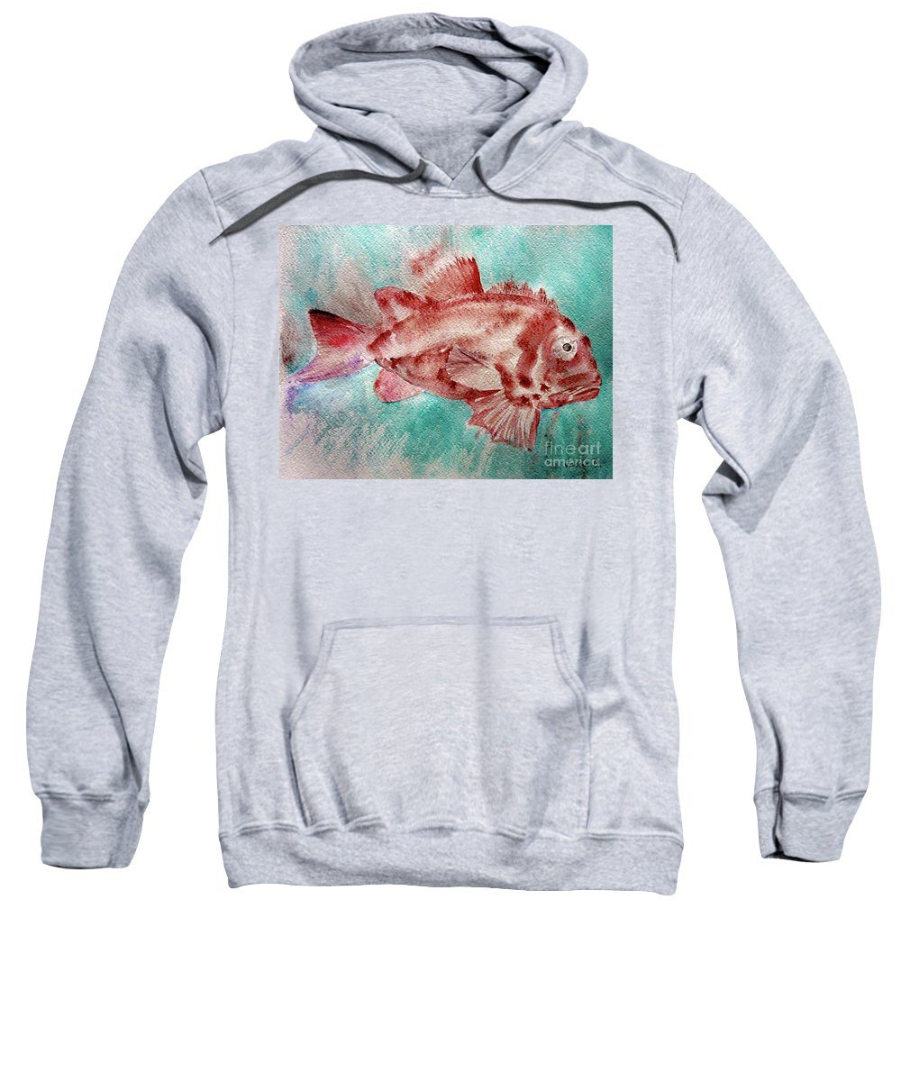 Fish Sweatshirt featuring the painting Red Fish by Jasna Dragun