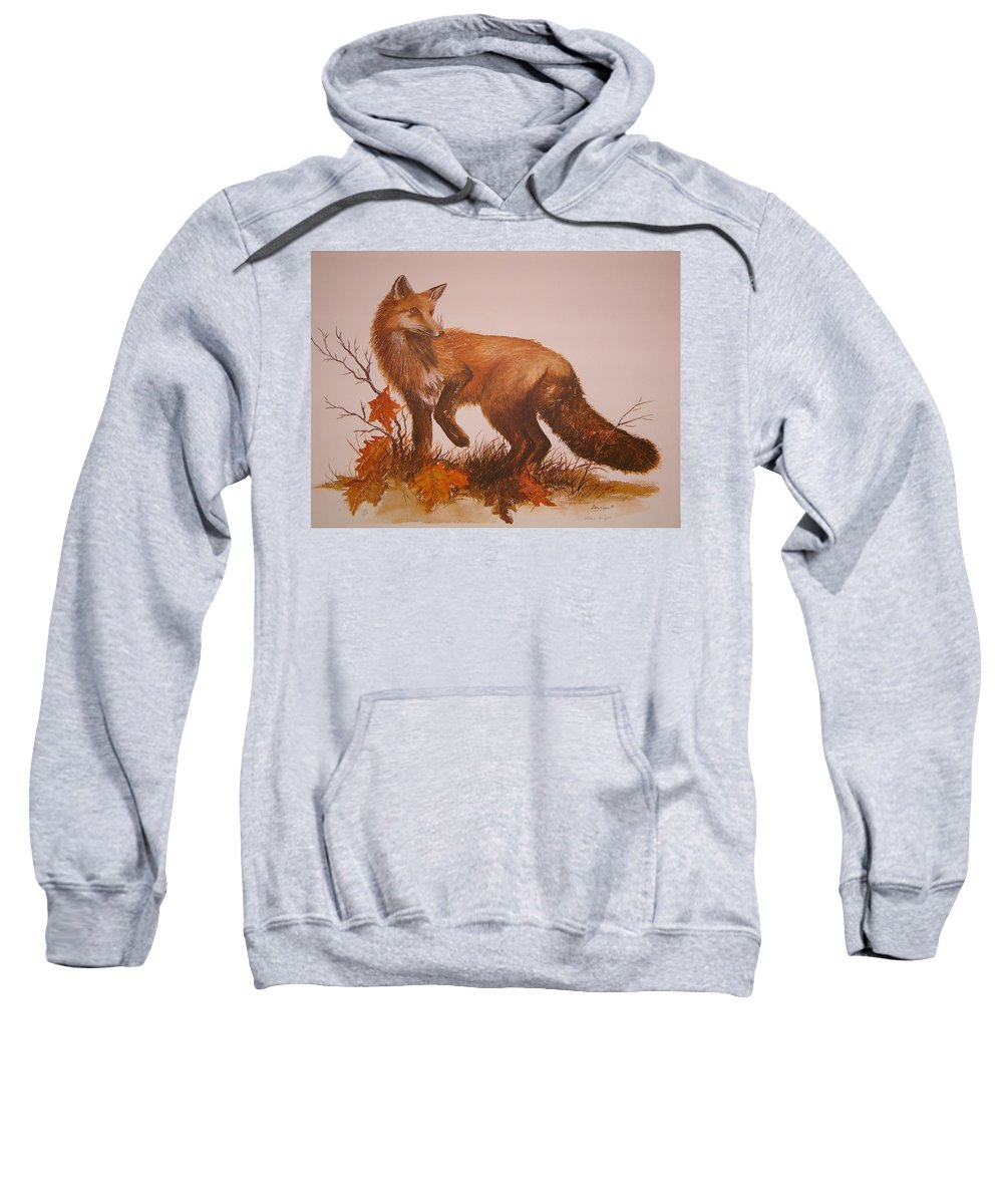 Nature Sweatshirt featuring the painting Red Fox by Ben Kiger