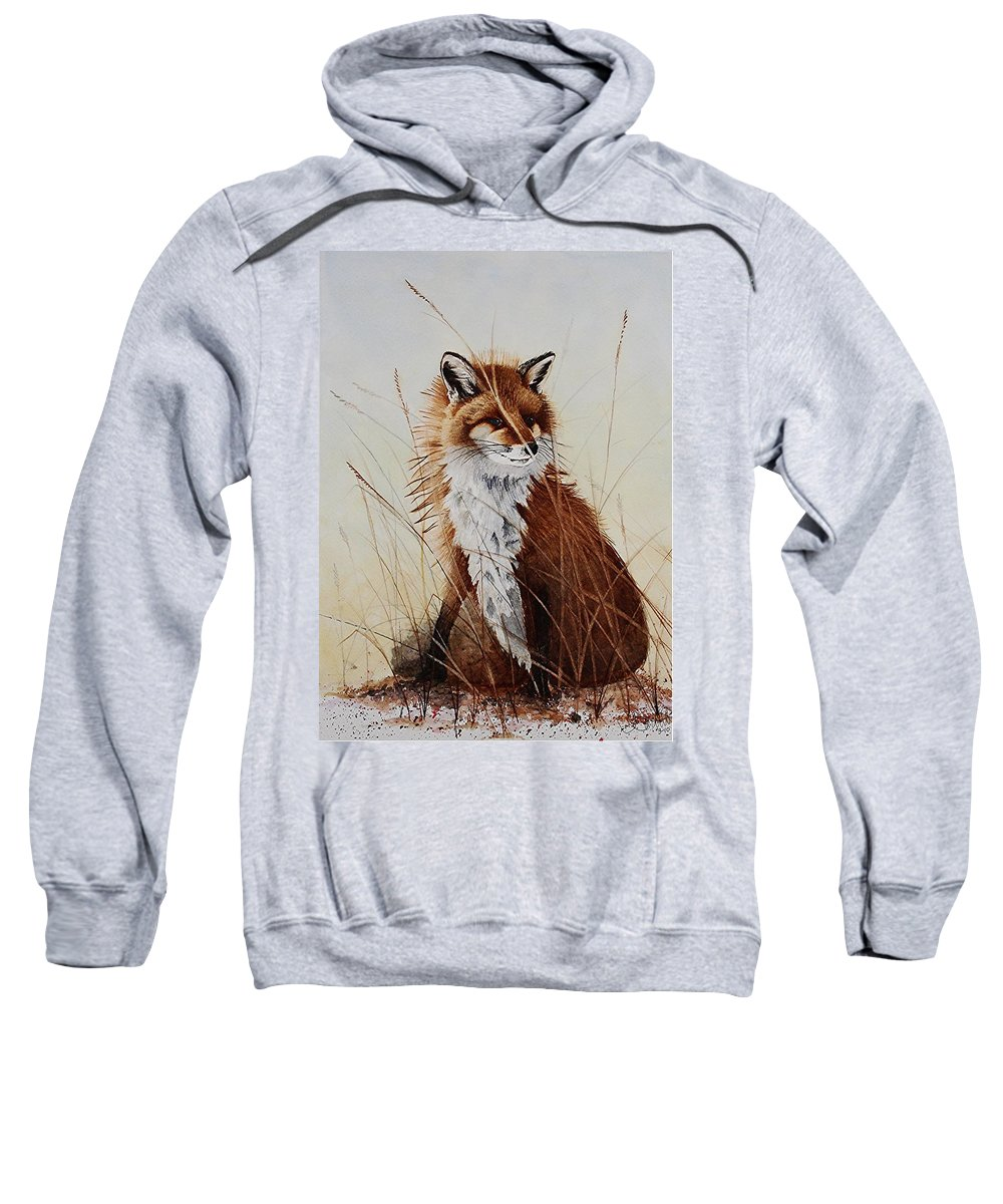 Wildlife Sweatshirt featuring the painting Red Fox Waiting On Breakfast by Jimmy Smith