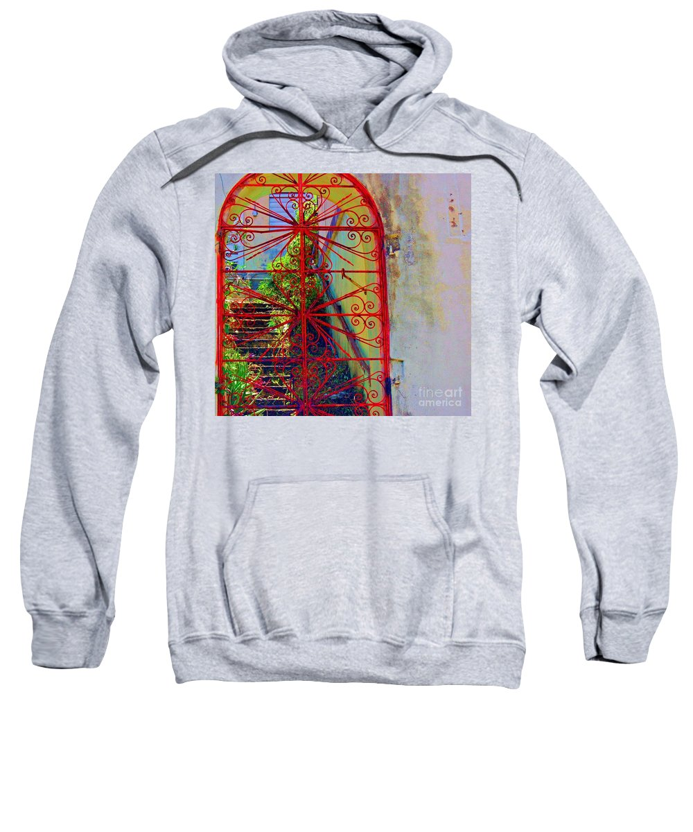 Gate Sweatshirt featuring the photograph Red Gate by Debbi Granruth