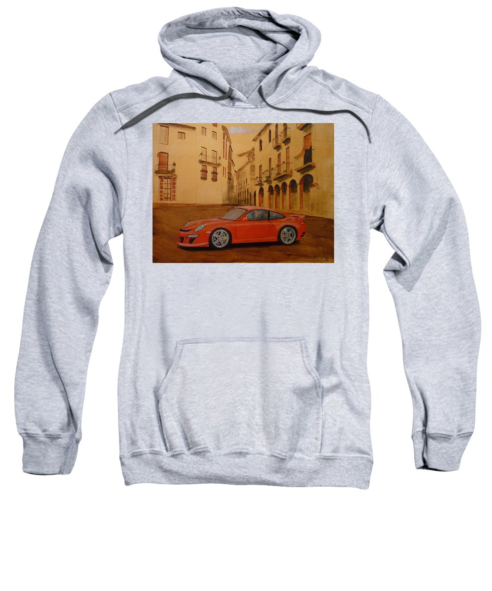 Car Sweatshirt featuring the painting Red Gt3 Porsche by Richard Le Page