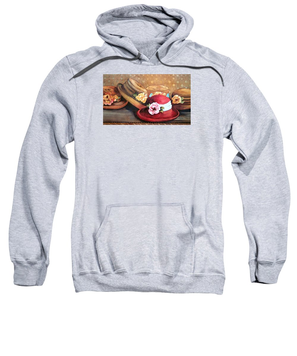 Hat Sweatshirt featuring the painting Red Hat by Karen Stark