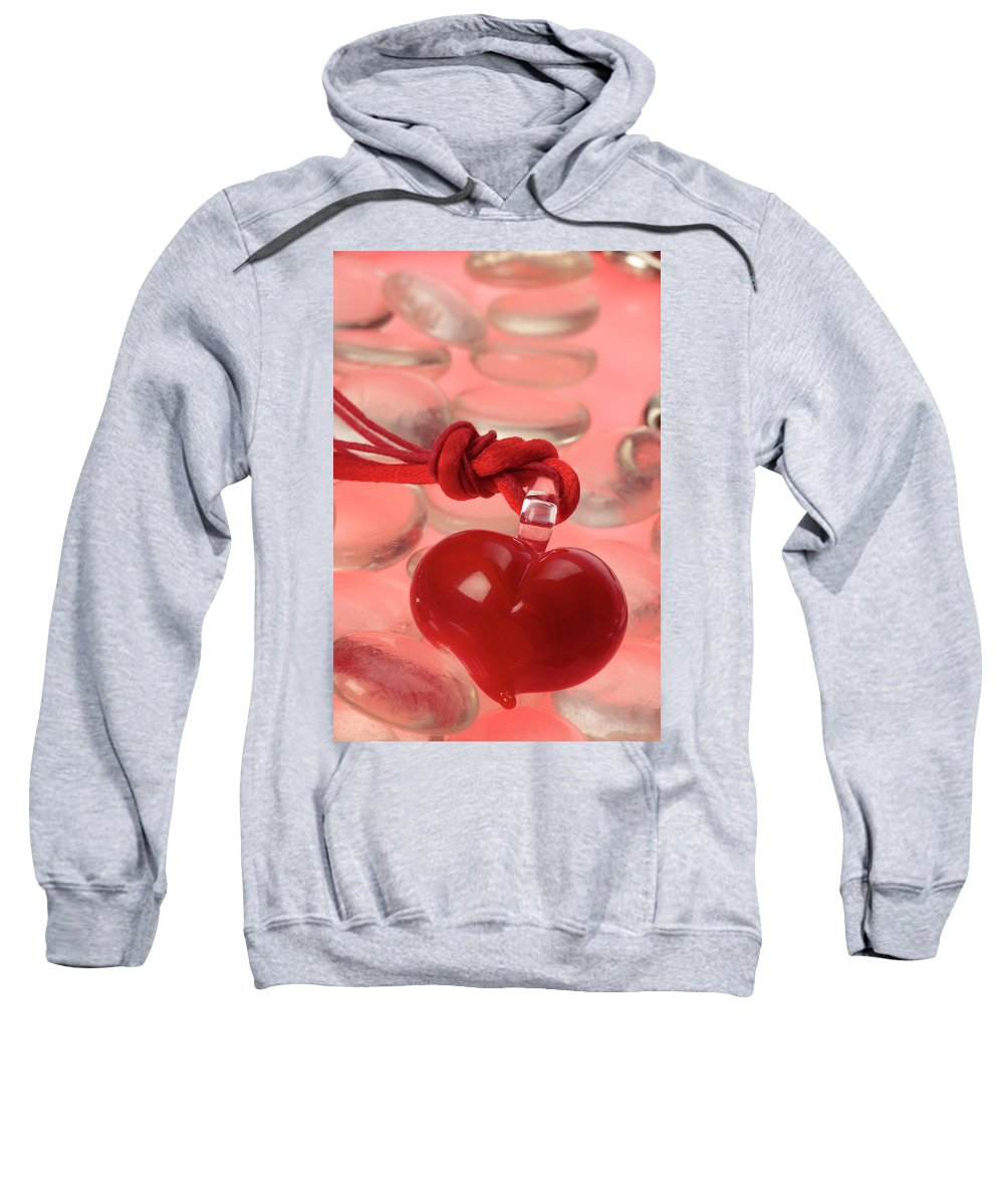 Red Sweatshirt featuring the photograph Red Heart Of Love by Stefania Levi