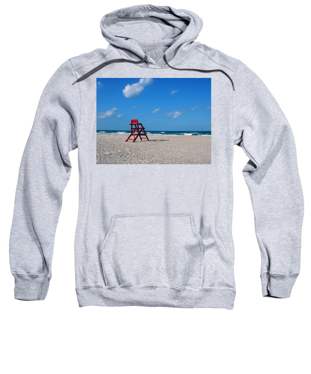 Photography Sweatshirt featuring the photograph Red Life Guard Chair by Susanne Van Hulst