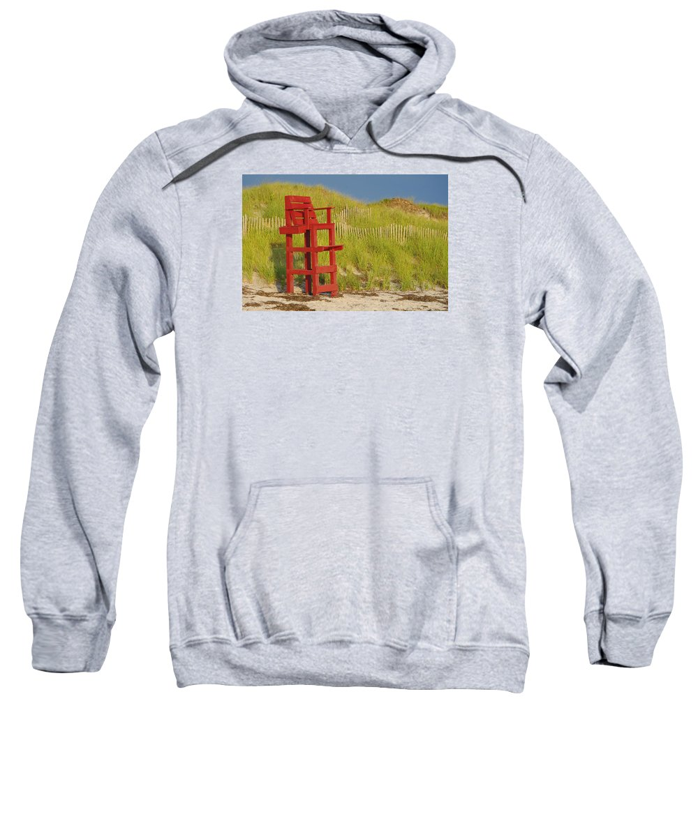 Afternoon Beach Blue Cape Cod Conservation Dune Dunes Fun Grass Green Lifeguard Massachusetts Ocean Peaceful Red Sand Sea Seat Summer Vacant Vacation Waiting Sweatshirt featuring the photograph Red Lifeguard Seat by Jf Halbrooks