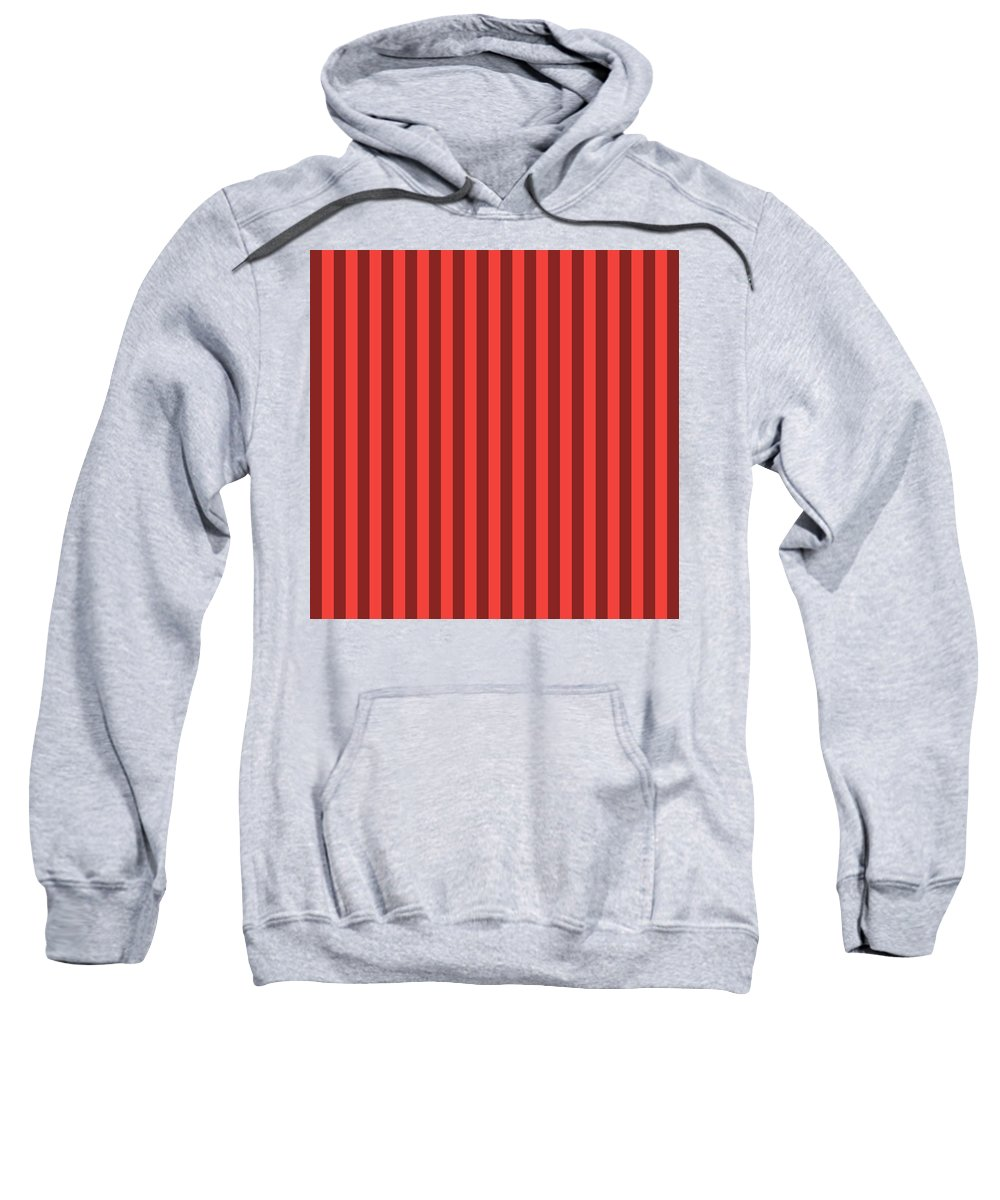 Orange Sweatshirt featuring the digital art Red Orange Striped Pattern Design by Ross