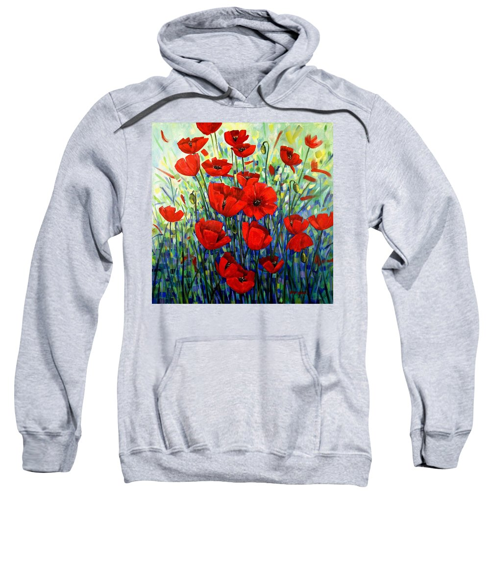 Floral Sweatshirt featuring the painting Red Poppies by Georgia Mansur