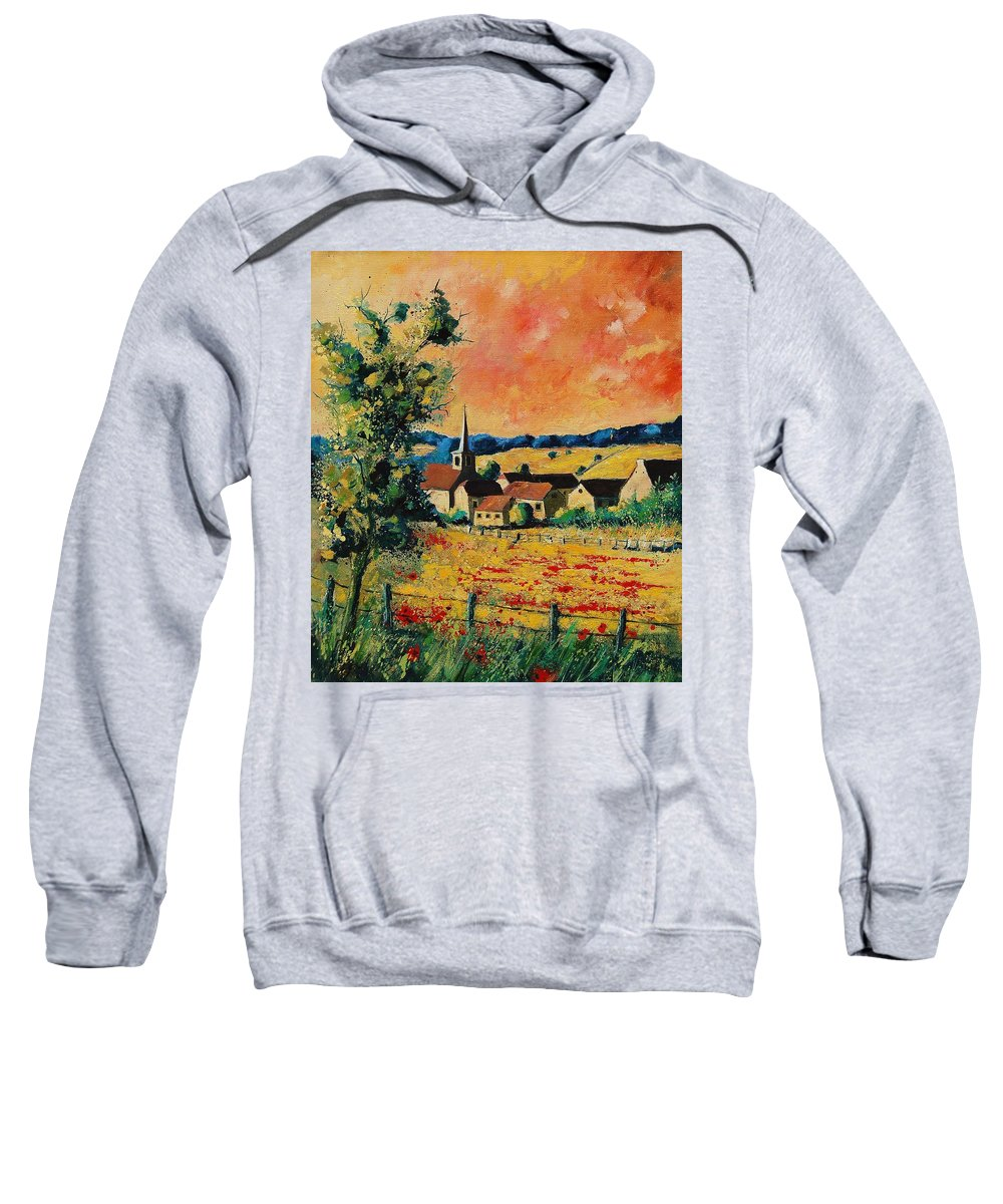 Poppies Sweatshirt featuring the painting Red Poppies In Gendron by Pol Ledent