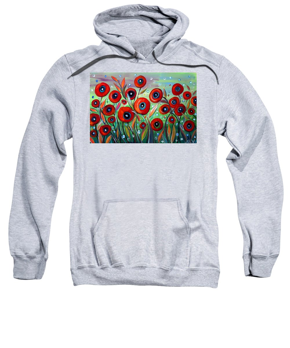 Flowers Sweatshirt featuring the painting Red Poppies In Grass by Luiza Vizoli