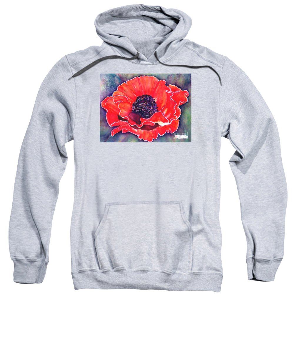 Red Flowers Sweatshirt featuring the painting Red Poppy by Norma Boeckler