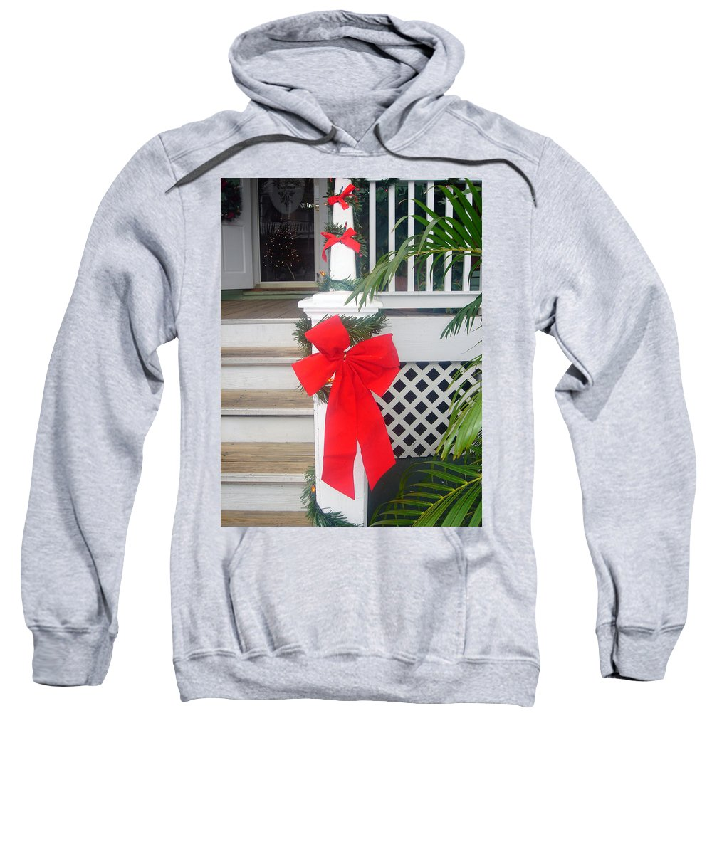 Christmas Ribbon Sweatshirt featuring the photograph Red Ribbon On Steps by Susanne Van Hulst