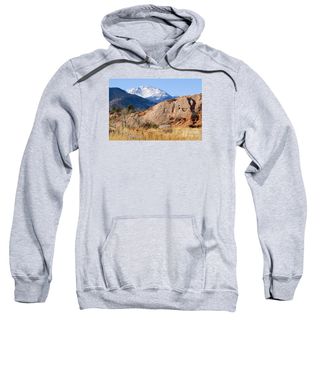 Bikers Sweatshirt featuring the photograph Red Rock And Pikes Peak by Steve Krull