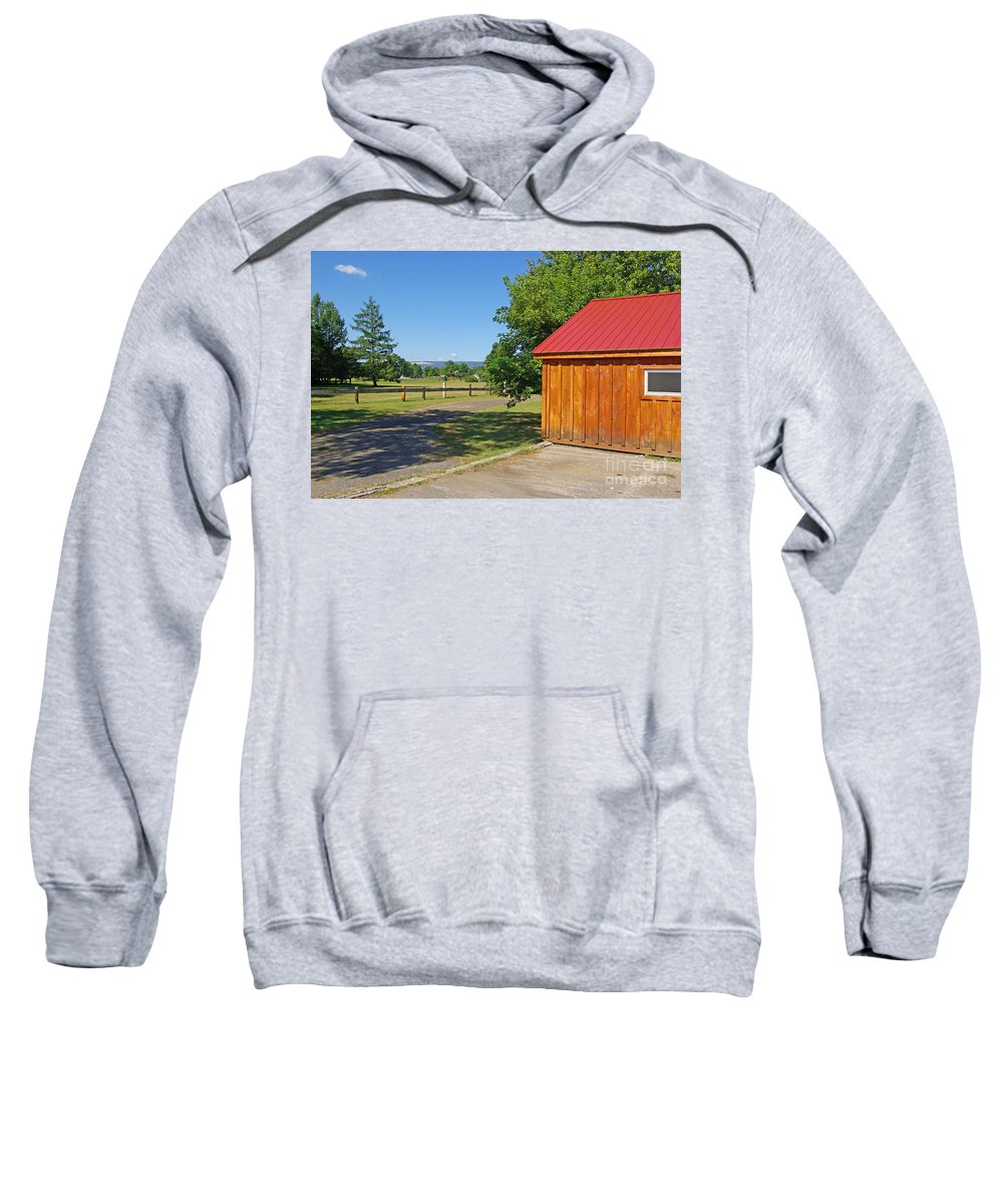 Red Sweatshirt featuring the photograph Red Roof by Zal Latzkovich