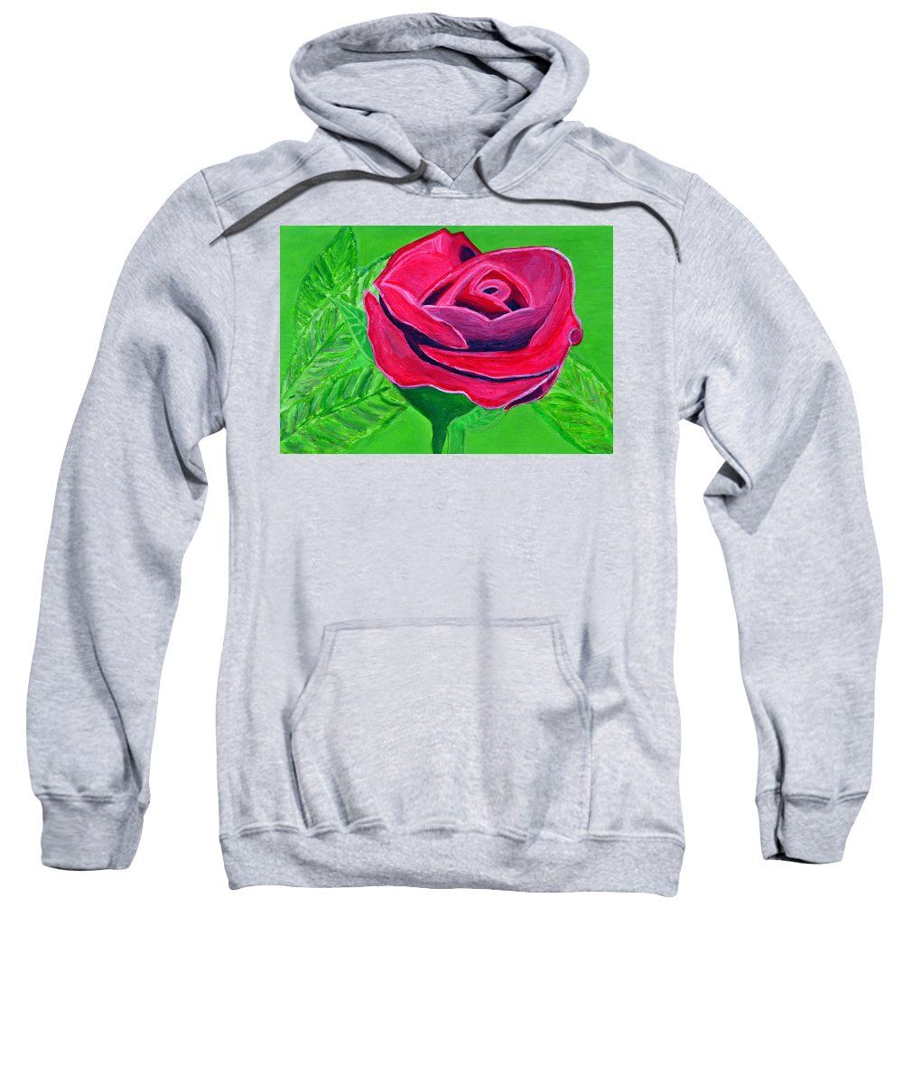 Red Rose Sweatshirt featuring the painting Red Rose 2 by Magdalena Frohnsdorff